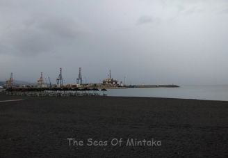 Beach and Port in Rain Malaga